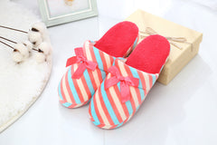 Winter Home Slippers For Women Striped Plush Warm Flip Flops Bow Anti Slip Casual Floor Slippers Indoor Fashion Woman Shoes