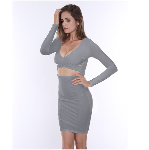 COUTUDI 2017 Summer Long Sleeve White Bodycon Dress Sexy Women Low-Cut Mini Dress Red Hollow Out Package Hip Nightclub Dresses