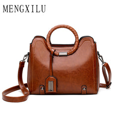 MENGXILU Fashion Tassel Leather Women Handbag Lady Hobos Bag Patchwork Shoulder Bags Women Large Capacity Sac A Main 2018 New