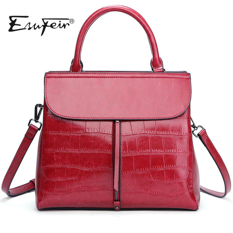 New 2017 ESUFEIR Brand Stone Pattern Women Bag Soft Genuine Leather Women Handbag Fashion Shoulder Bag Femal Top-Handle Bag