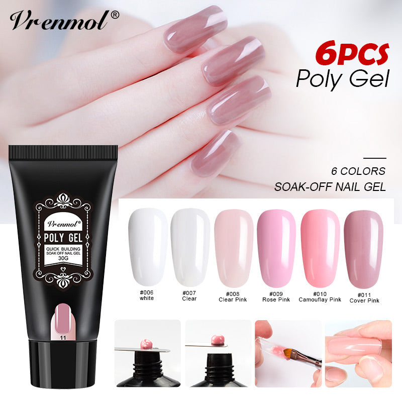 Vrenmol 6pcs A Set Poly Gel Quick Builder Fast Dry Nail Art Design ...