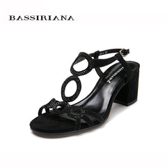 Women sandal 2017 Summer Genuine leather Beige Black suede Medium heels Back Strap Basic sandals woman Free shipping BASSIRIANA