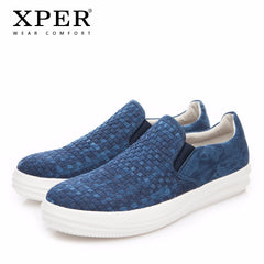 XPER Brand 2018 New Fashion Spring Men Loafers Man Slip-On Walking Shoes Men Hemp Casual Footwear Comfortable Blue #XHY18017BU