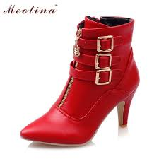 Meotina New Shoes Women Boots High Heels Ankle Boots Pointed Toe Buckle Martin Boots Zip Ladies Shoes White Big Size