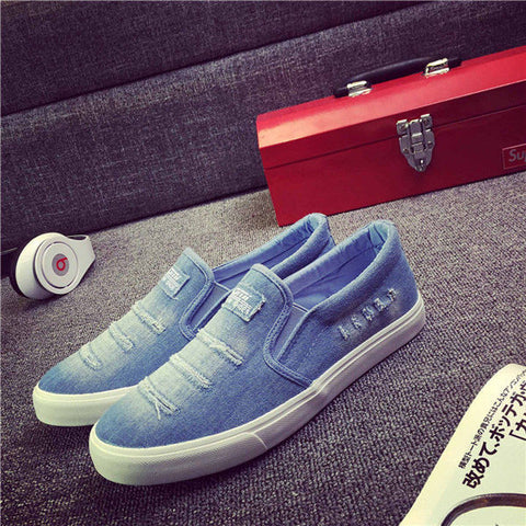 Men Canvas Shoes Slip On Men Loafers for Mens Driving Shoes Fashion Unique Worn-off Design Men Flat Shoes-quick deal box