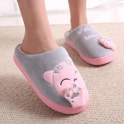 Women Winter Home Slippers Cartoon Cat Home Shoes Non-slip Soft Winter Warm Slippers Indoor Bedroom Loves Couple Floor Shoes