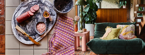 alegria, sage and clare, cushions, bedding, homewares, rugs, resin kitchenware, resin decor, sage and clare alegria range, bath mats, nudie rudie, linen, bed linen, printed linen