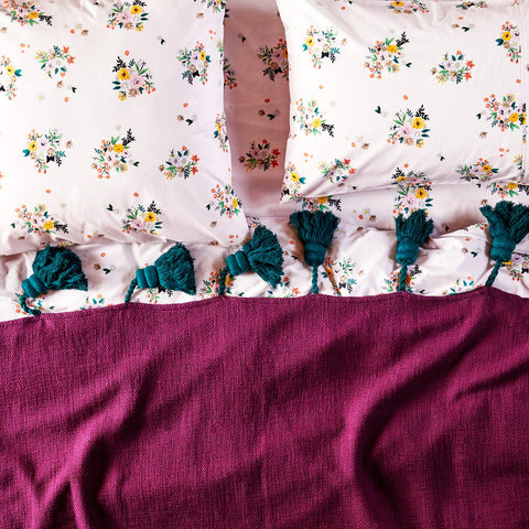 Magic happens by kip and co, kip and co, beetroot tassel throw, tassel throw, bedding, linen, cushions