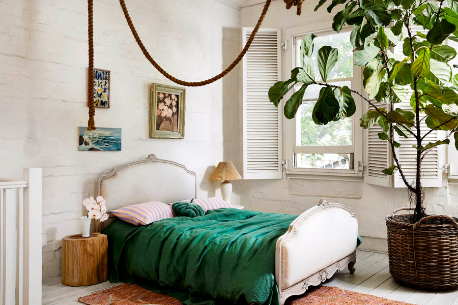 Agave Green Linen Quilt Cover - Kip & Co.