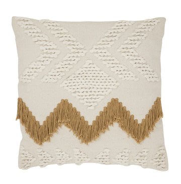Fringe Cushion - White with Tan Fringing
