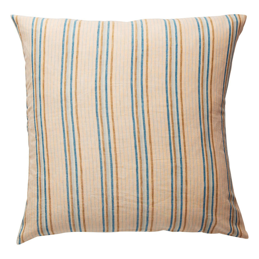 Lio Stripe Linen Euro Pillowcase Set - Turquoise - Sage & Clare