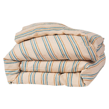 Lio Stripe Linen Quilt Cover - Turquoise - Sage & Clare