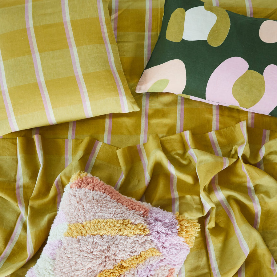 Lucie Shag Cushion - Peach - Sage & Clare