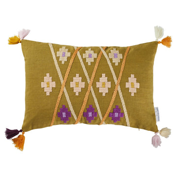 Magalie Embroidered Cushion - Sage & Clare