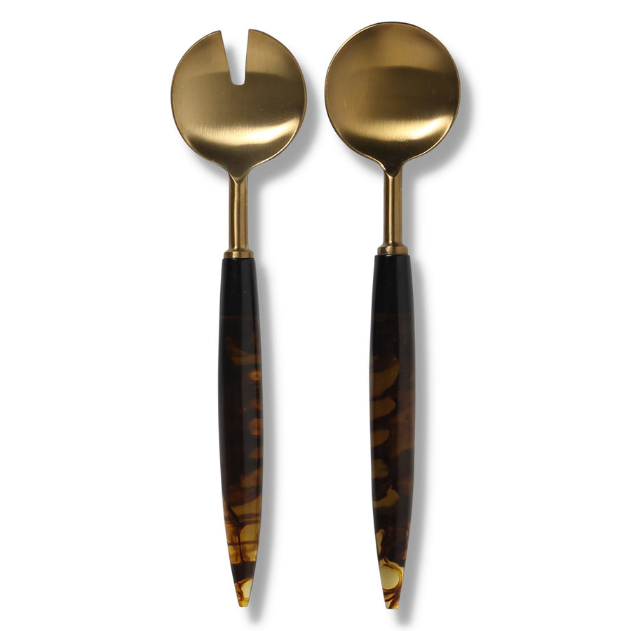 Smokey Amber Salad Servers - Kip & Co.