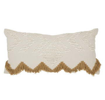 Fringe Rectangular Pillow - White and Tan Fringing