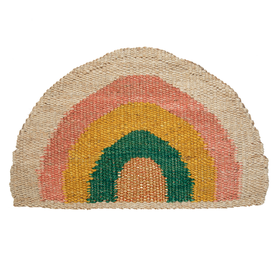 Rainbow Doormat - Coral/Yellow/Green/Natural/Gold - PREORDER