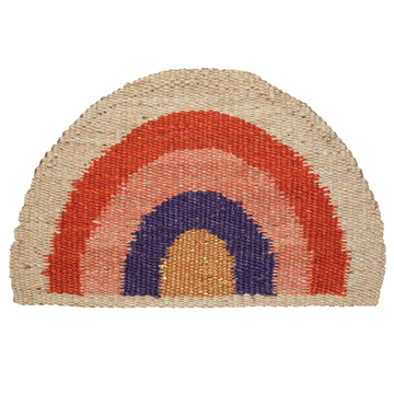 Rainbow Doormat - Red/Coral/Purple/Natural/Gold - PREORDER