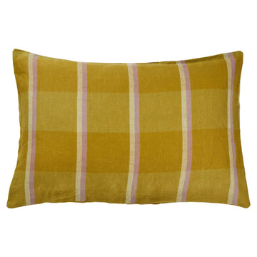 Theo Check Linen Pillowcase Set - Olive - Sage & Clare
