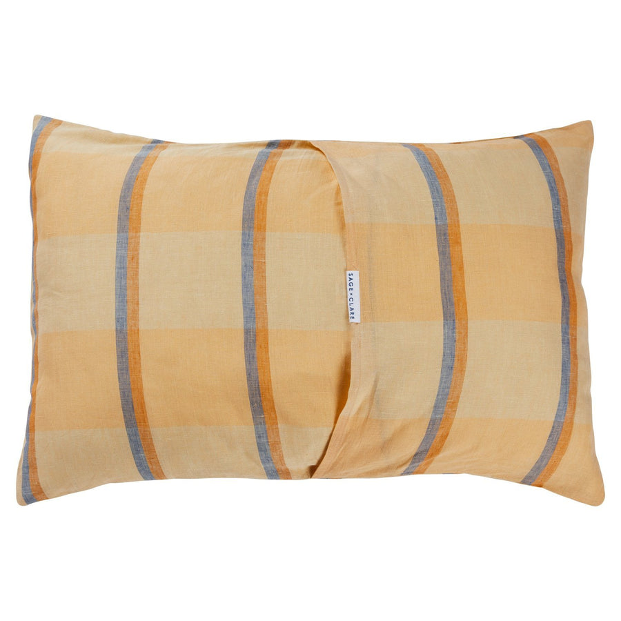 Theo Check Linen Pillowcase Set - Peach Soda - Sage & Clare