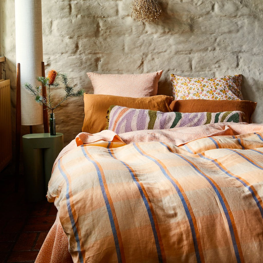 Theo Check Linen Quilt Cover - Peach Soda - Sage & Clare