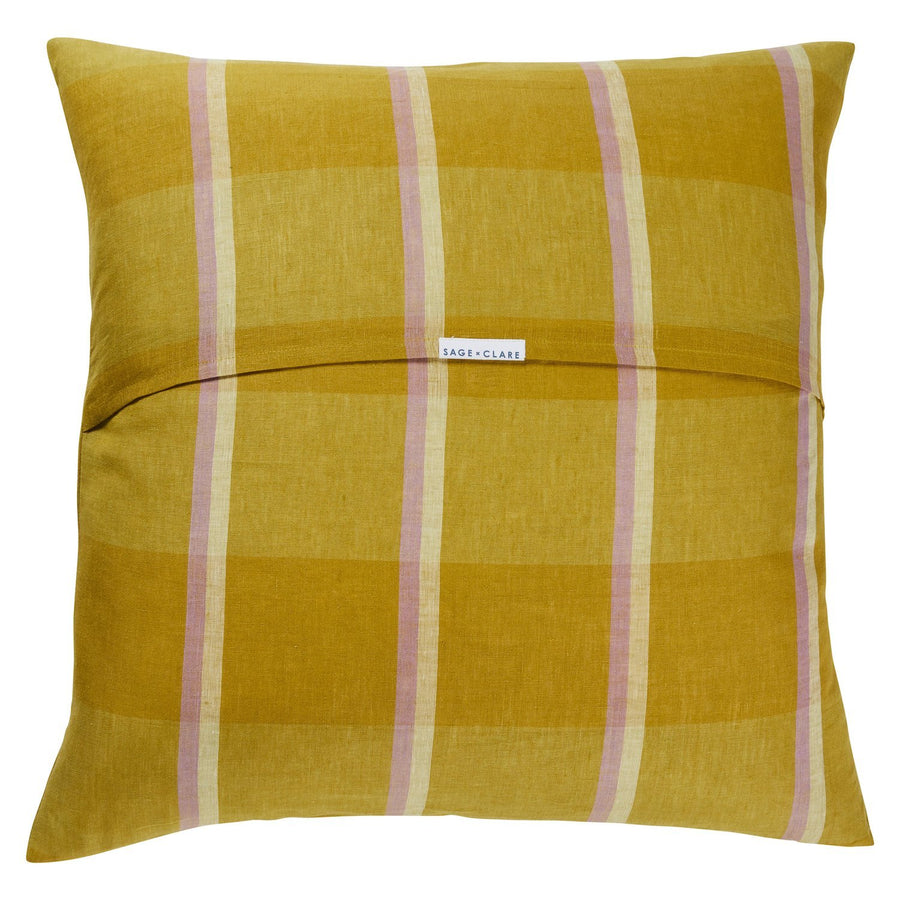 Theo Check Linen Euro Pillowcase Set - Olive - Sage & Clare