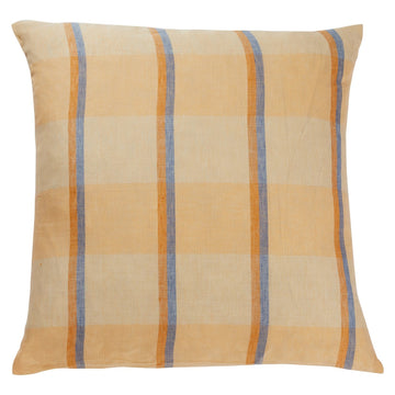 Theo Check Linen Euro Pillowcase Set - Peach Soda - Sage & Clare