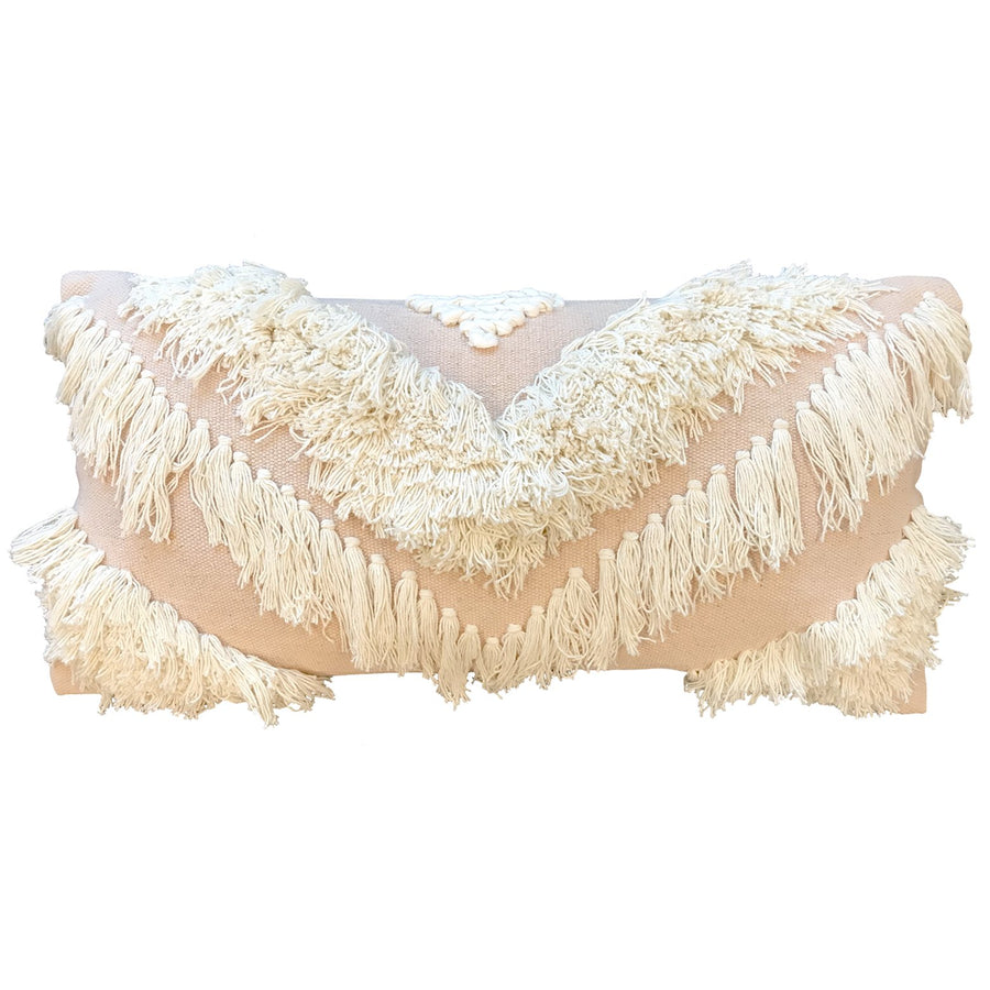 Tribe Cushion - Rectangular White/Blush