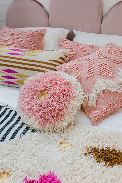 Fringe Cushion - Blush with White Fringing