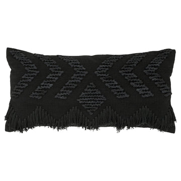 Fringe Cushion Rectangular - Black