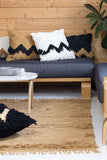 Fringe Cushion - White with Black Fringing