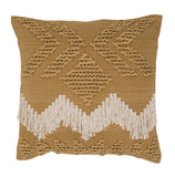 Fringe Cushion - Tan and White