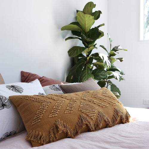 Fringe Cushion Rectangular - Tan