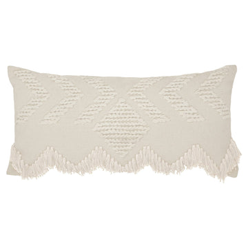 Fringe Cushion Rectangular - White