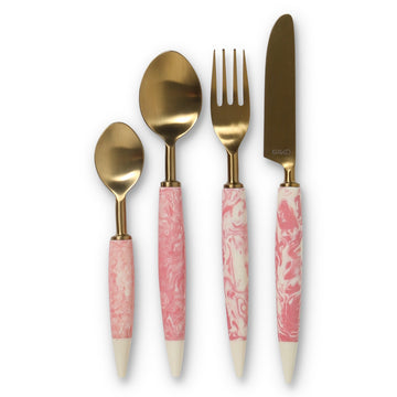 Pink Marble Cutlery Set of 4 - Kip & Co.