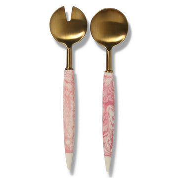 Pink Marble Salad Servers  - Kip & Co.