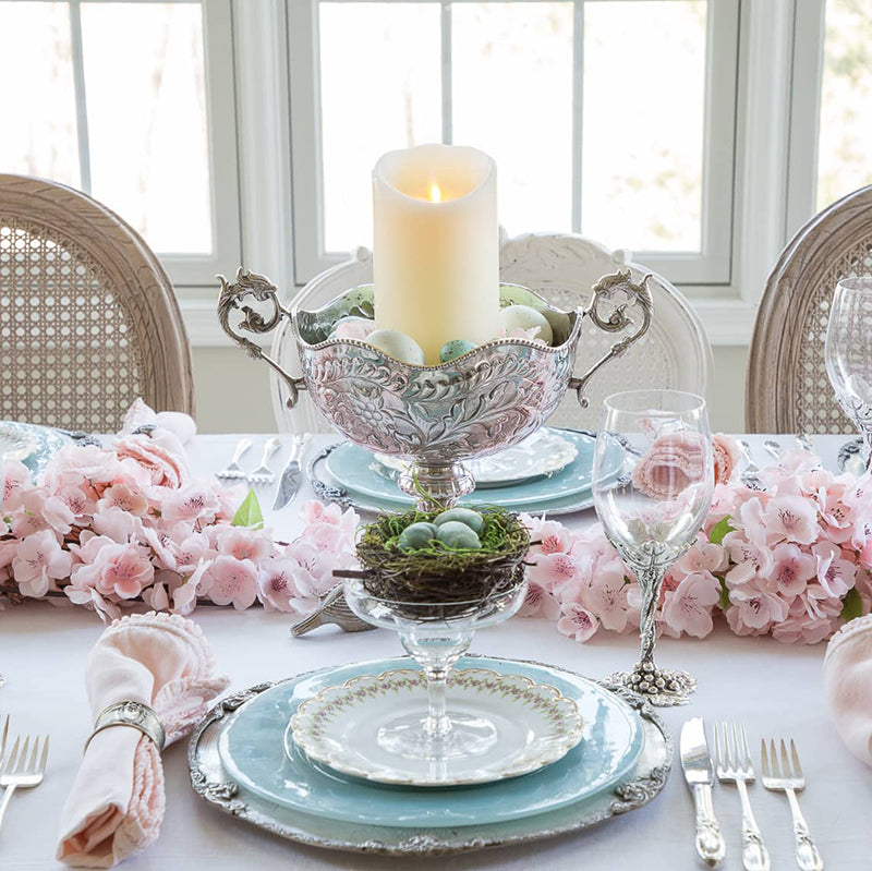 Cherry blossom branch tablescape