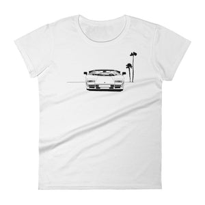 Women's Black and White Countach T-Shirt