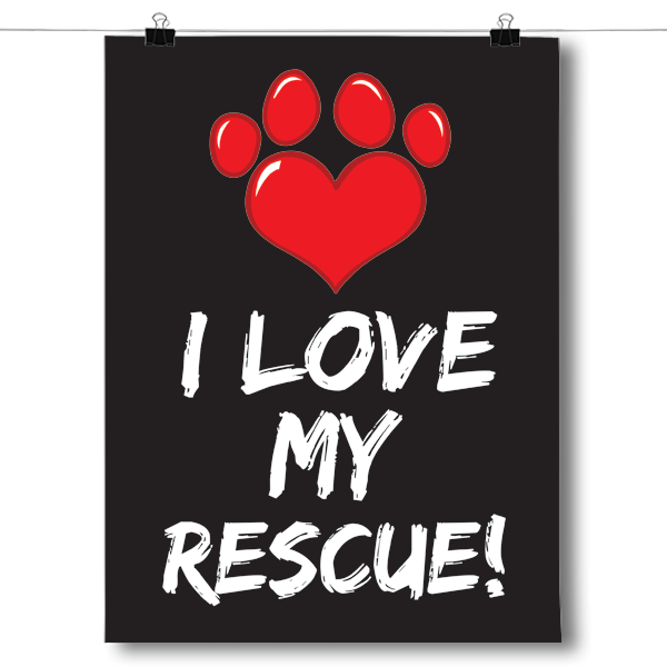 I Love My Rescue Animal - Paw Print