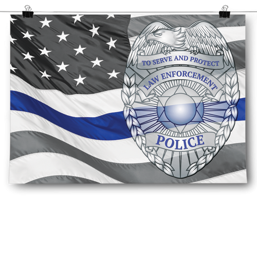 Police Badge - American Flag Backdrop