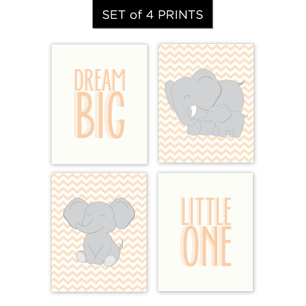 Dream Big Little One (Neutral colors) Set of 4 Prints
