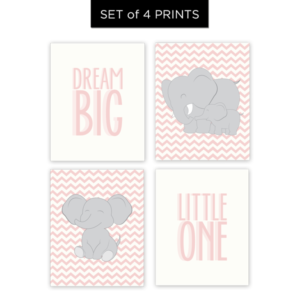 Dream Big Little One (Girl) Set of 4 Prints
