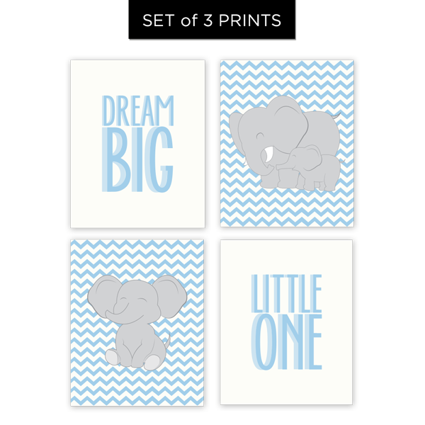 Dream Big Little One (Boy) Set of 4 Prints