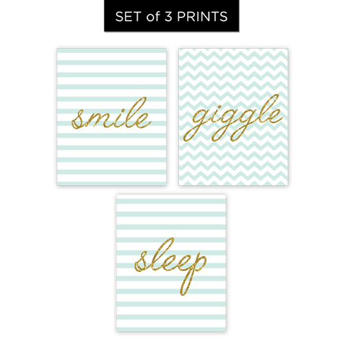 Smile, Giggle, Sleep - Set of 3 Prints