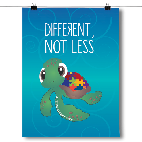 Different Not Less - Autism Awareness Turtle