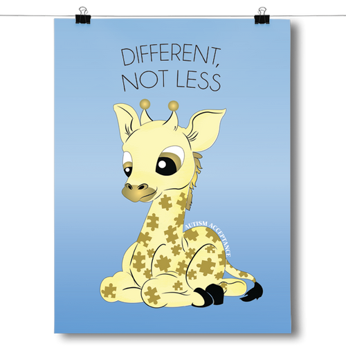 Different Not Less - Autism Awareness Giraffe