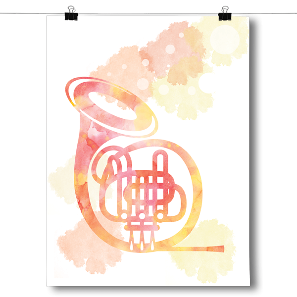 French Horn Silhouette - Watercolor