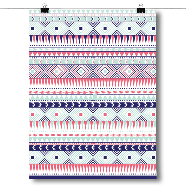 Coral and Mint Aztec Pattern