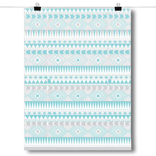 Blue and Gray Aztec Pattern