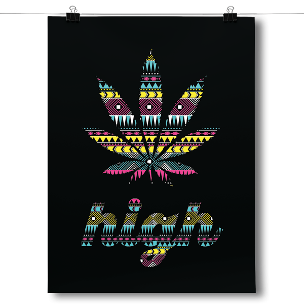 High - Marijuana Leaf - Aztec Pattern